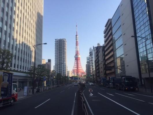 東京タワー(綱の手引坂下桜田通りから)