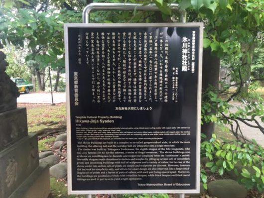氷川神社社殿説明板