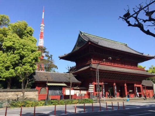 増上寺外門と東京タワー