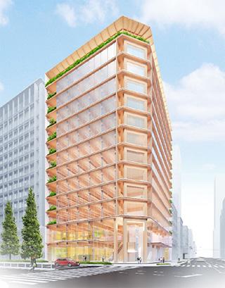 中央区京橋x第一生命x清水建設x木造ハイブリッド構造賃貸オフィスビル